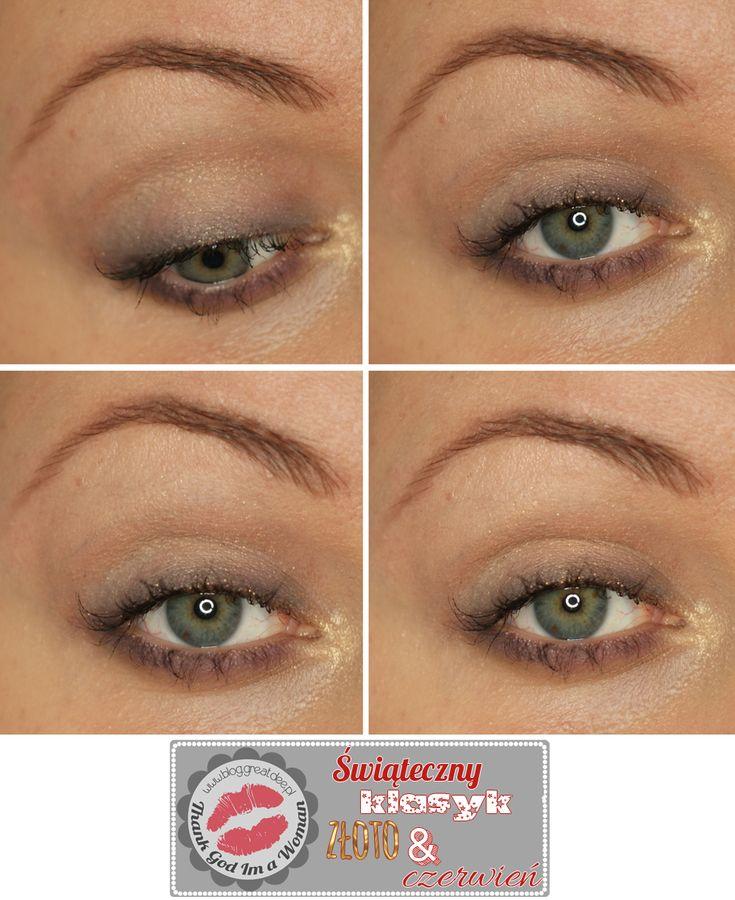 Make-up: Świąteczy klasyk - złoto i czerwone usta