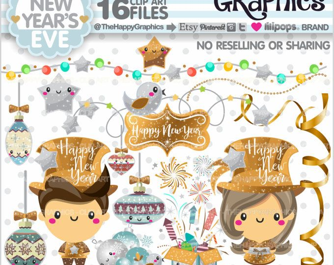 80%OFF - New Year's Eve Clipart, Christmas Graphics, COMMERCIAL USE, Christmas Clipart, Planner Accessories, Winter Clipart, Holiday