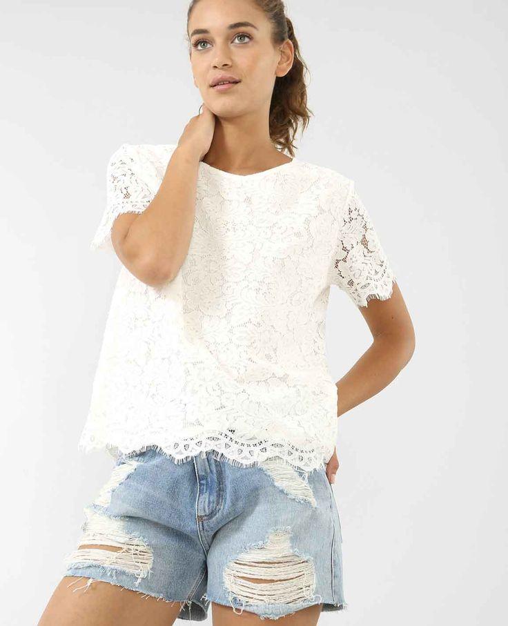 Mode petite - Top blanc dentelle - La Petite Allure