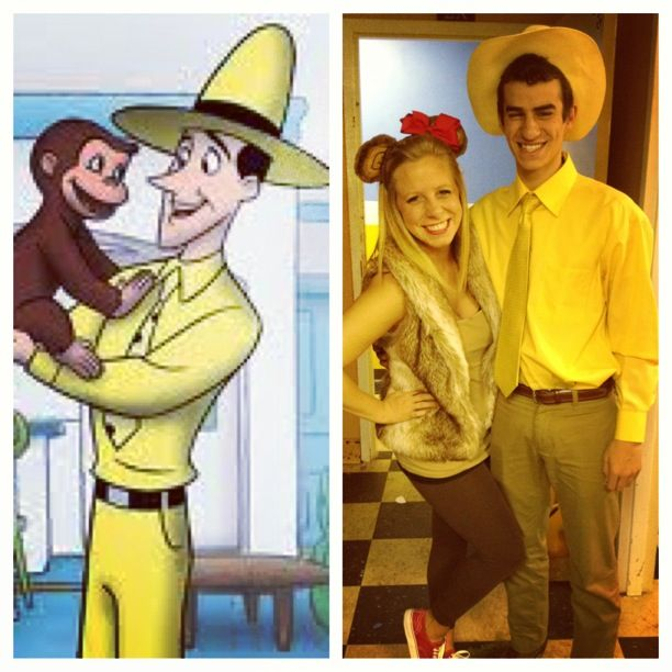 Curious George and the Man in the Yellow Hat. Cute couple costume! Could also work for a dad as the man and a kid as George.