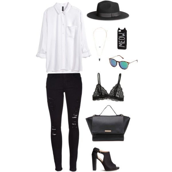 sunday's outfit by freecoolina on Polyvore featuring H&M, Frame Denim and MANGO