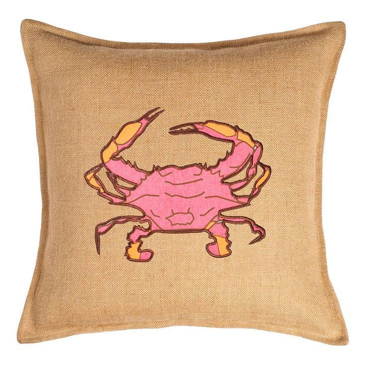 Greendale Home Fashions Crab Burlap Throw Pillow, Pink