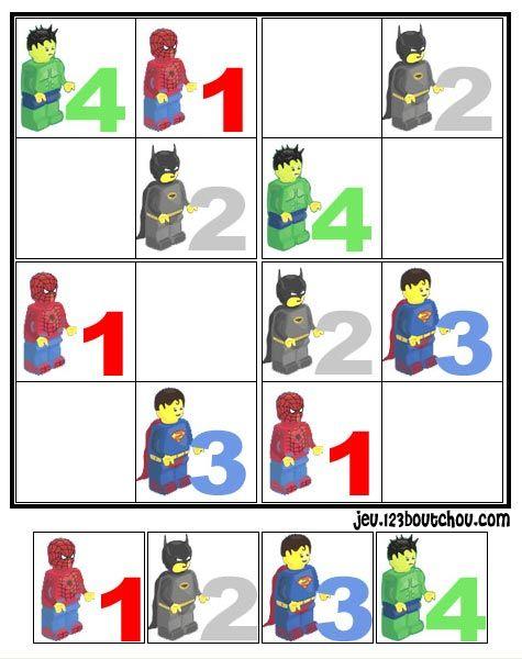 Grille sudoku enfant : Sur la grille sudoku, l'enfant doit trouver les bons chiffres, lettres ou symboles pour former la bonne série. .... lego/0