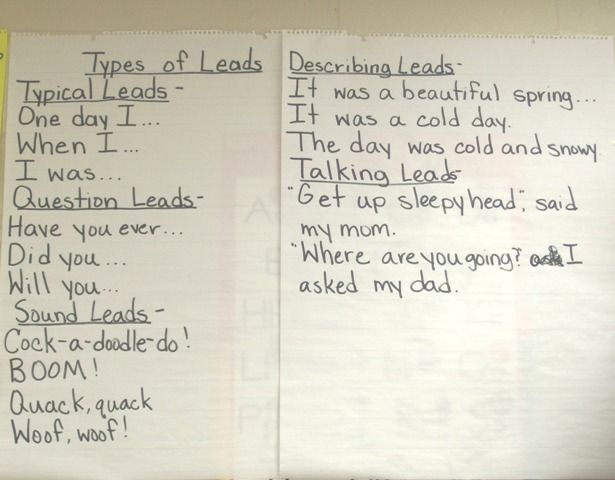 Another Anchor Chart for narrative leads, types-of-leads