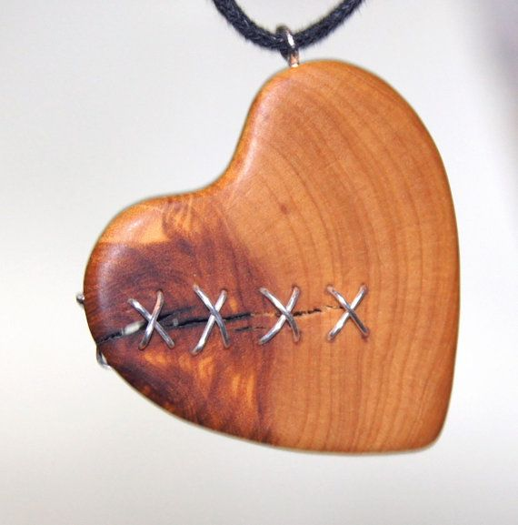 Olive Wood Pendant wood jewelryHeart by OliveWoodJewellery on Etsy, $19.00