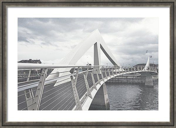 Jenny Rainbow Fine Art Photography Framed Print featuring the photograph Glasgow Squiggly Bridge. Vintage Collection by Jenny Rainbow