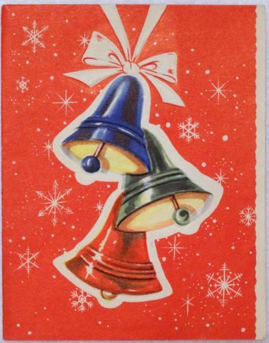 #1227 40s Mid Century Bells-Vintage Christmas Greeting Card