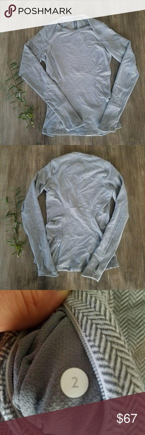 Lululemon longsleeve herringbone shirt Lululemon Longsleeve herringbone shirt with thumb holes. lululemon athletica Tops Tees - Long Sleeve