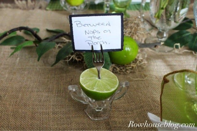 Rowhouseblog.com: Refreshing Lime Tablescape Cute idea for place tags