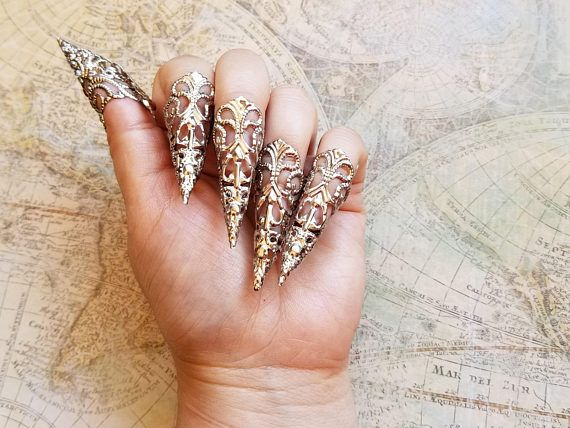 10 silberne Stiletto-Nägel, Gothic-Ringrüstung, Goth Steampunk-Schmuck, scharfe Nagelkrallen, Stiletto-Nägel, lange Hexennägel, scharfe Nagelkrallen – research