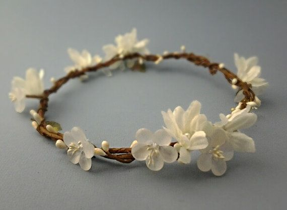 White rustic bridal crown, flower crown, woodland wedding, white floral circlet, halo, boho head piece, floral headband, bohemian - BETH  $75.00