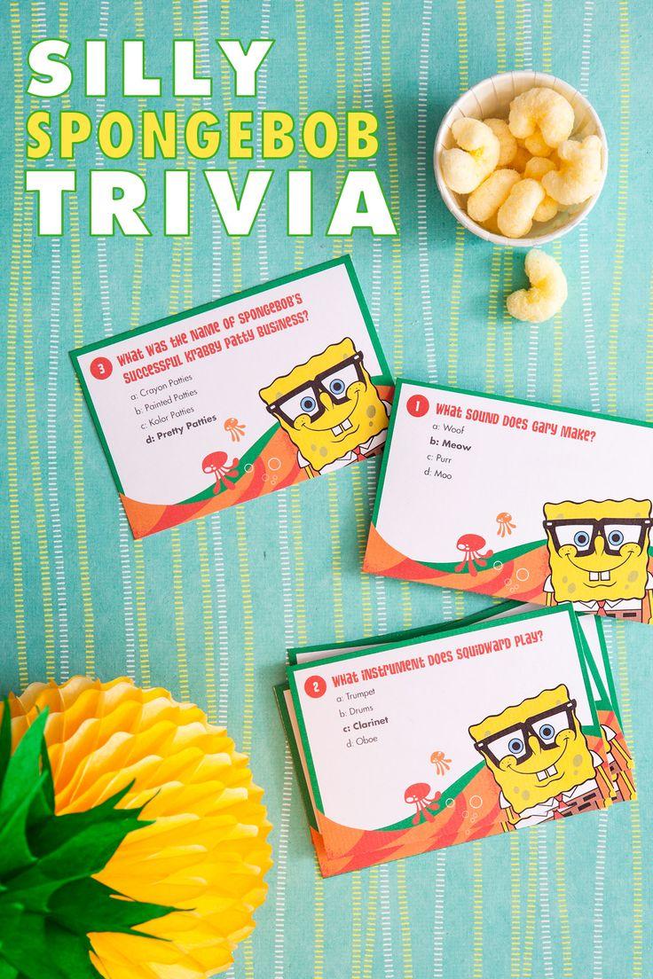 SpongeBob Printable Trivia Card Game Kid, Birthdays and