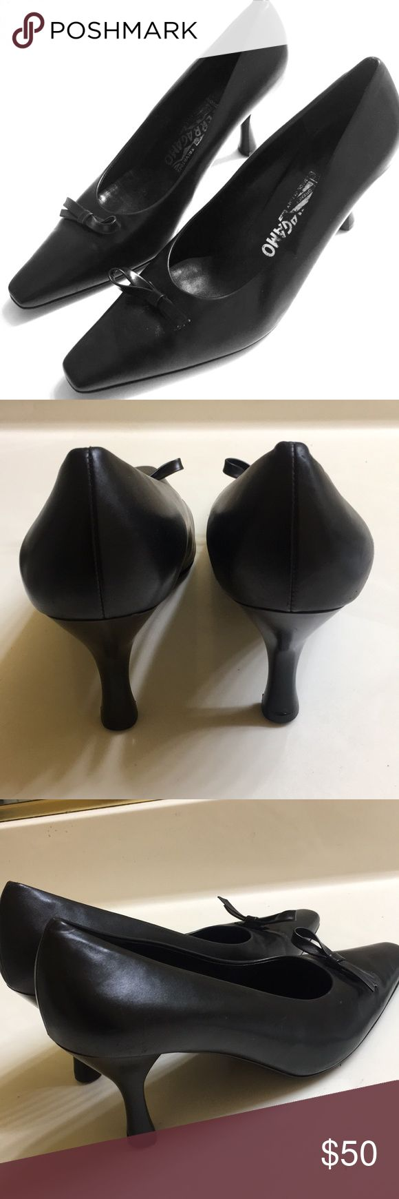 SALVATORE FERRAGAMO  BLACK HEELS Black Salvatore FERRAGAMO Black Heels with a small bow in the front practically new as you can tell by the pictures..Size 9 but fit more like an 8. Salvatore Ferragamo Shoes Heels