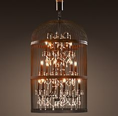I simply adore chandeliers. Baroque, gothic, art deco, retro - bases for candles, horns, and more - I would have one in every room if I could!Lights, Ideas, Birds Cages, Restoration Hardware, Vintage Birdcages, Extra Large, Bird Cages, Restorationhardware, Birdcages Chandeliers