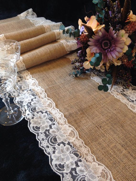Burlap and IVORY Lace Table Runner – Wedding Table Runner – 14″ Width; Lace on Edges – Country Home Decor, Farmhouse Decor, Rustic Wedding