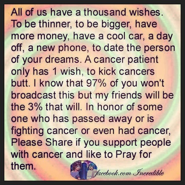 Prayers to all those fighting cancer.