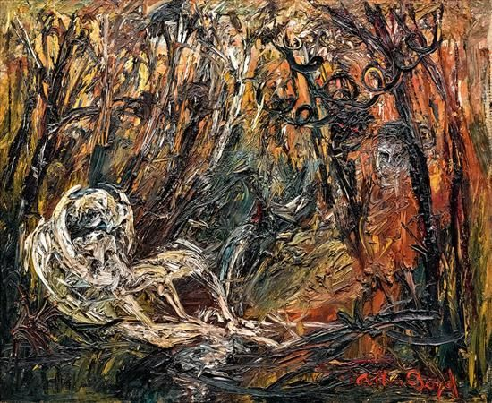 ARTHUR BOYD 1920-1999 (Lovers and Ram in a Forest) (1967) oil on canvas. For Auction Nov 2016. Estimate: AUD30,000 - AUD50,000 Description: ARTHUR BOYD  1920-1999  (Lovers and Ram in a Forest) (1967) oil on canvas signed ''Arthur Boyd'' lower right 62.5 x 76.5 cm.