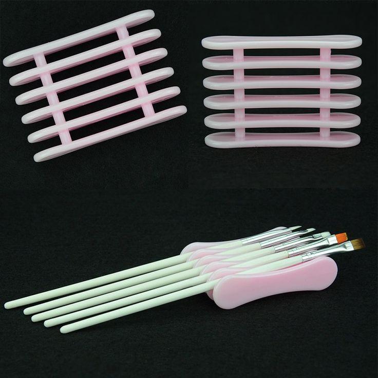 1 pz rosa uv gel brush pen holder nail art moda fai da te strumenti necessari trucco banco di mostra acrilico strumenti di plastica