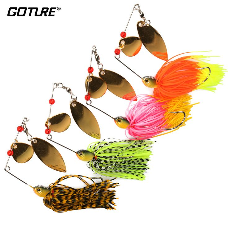 Goture 4 Pieces Jig Head Fishing Lure 15g Spinnerbait Striped Bass Pike Trout Fishing Spinner Bait Flash Colorado Willow Blades //Price: $16.99 & FREE Shipping //     #fishing #flyfishing #trout #fish #fishinglife