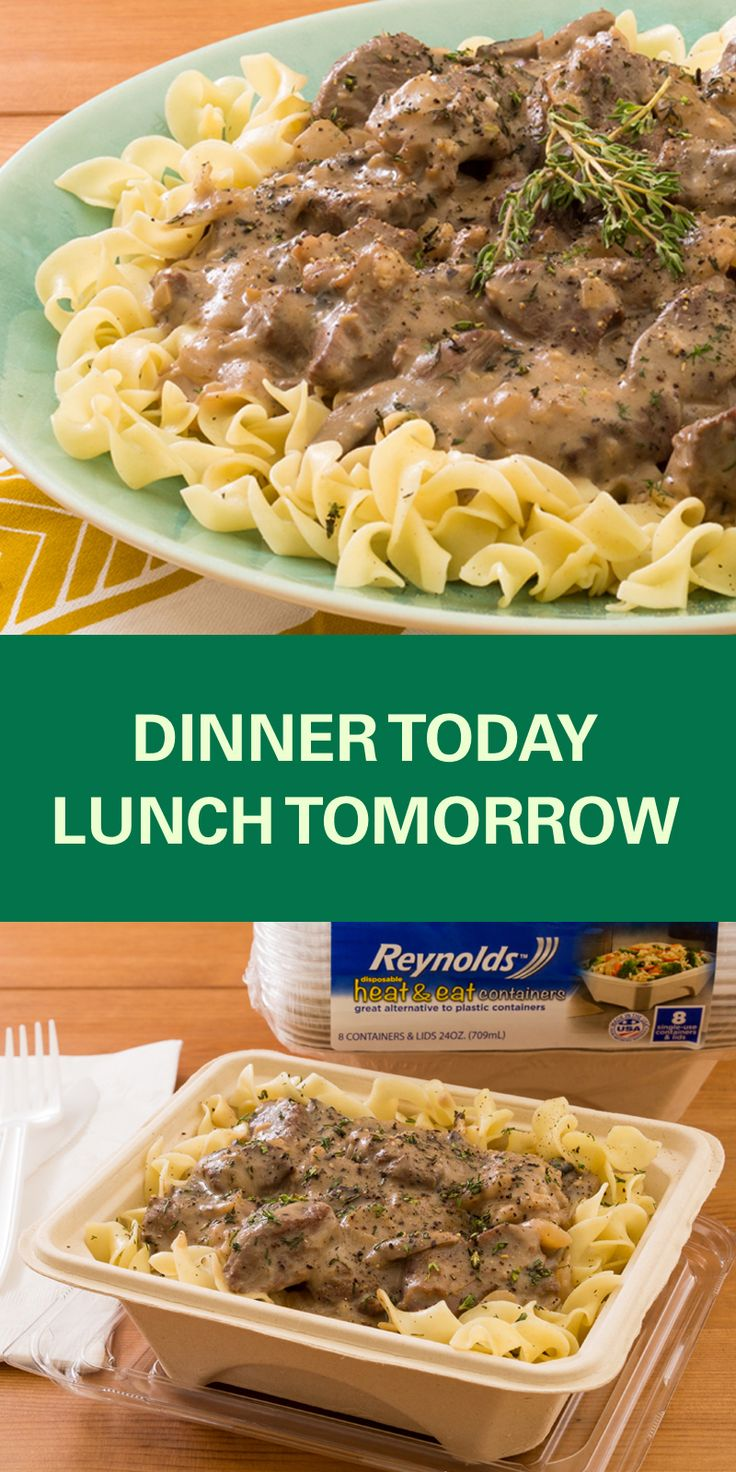 Pack up leftovers from this Slow Cooker Beef Stroganoff recipe in a Reynolds Disposable Heat & Eat container and take them to work for a delicious, easy lunch! These containers are made from plant fibers, which means they're perfect for the microwave and a great alternative to plastic, and there's no cleanup when you're done!