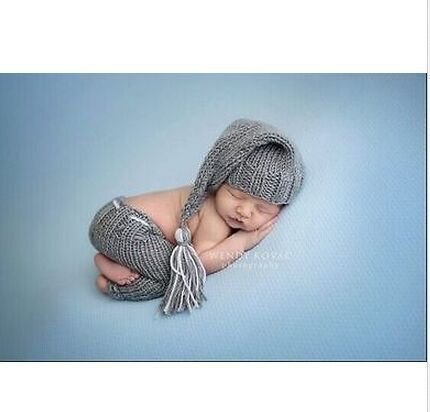 Newborn baby photo props handmade Pants Knit and Elf night Cap hat  for Photography Props baby studio props accessories
