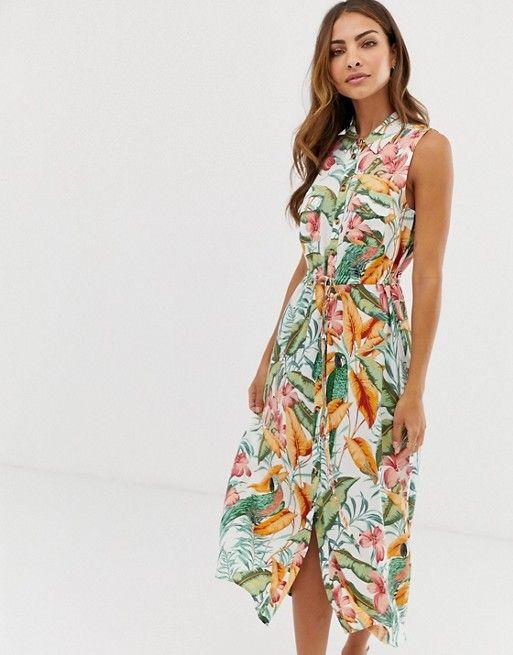 ee1c8248246 Image 1 of Warehouse midi shirt dress in tropical print