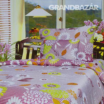 3 részes lila virágos ágynemű garnitúra (101)