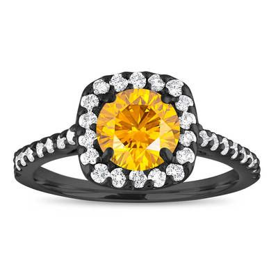 Yellow Diamond Engagement Ring Vintage, Canary Yellow Diamond Ring, Cushion Cut Ring 1.58 Carat 14K Black Gold Unique Certified Handmade