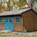 12'x18' Quaker Storage Shed with Carriage House Door, Wood Arched Windows, Wood Gable Vent, Mushroom Stain and 6'x4' Ramp