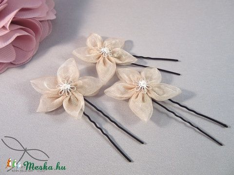 Meska - Virágos hajtű - púderrózsaszín Edina09 kézművestől