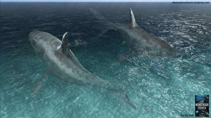 """Megalodons - aditional illustration """"The Monstrous Trench"""" sea monsters novel. #megalodon #megalodons #sharks #shark"""