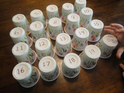 Find some snow related cups .... Lots of games to play... 1-number order 2- they close their eyes you take one away-whats missing? 3-swap two over ... can they explain what's happened? 4-they're the teacher to catch you out! Lots of fun! LH