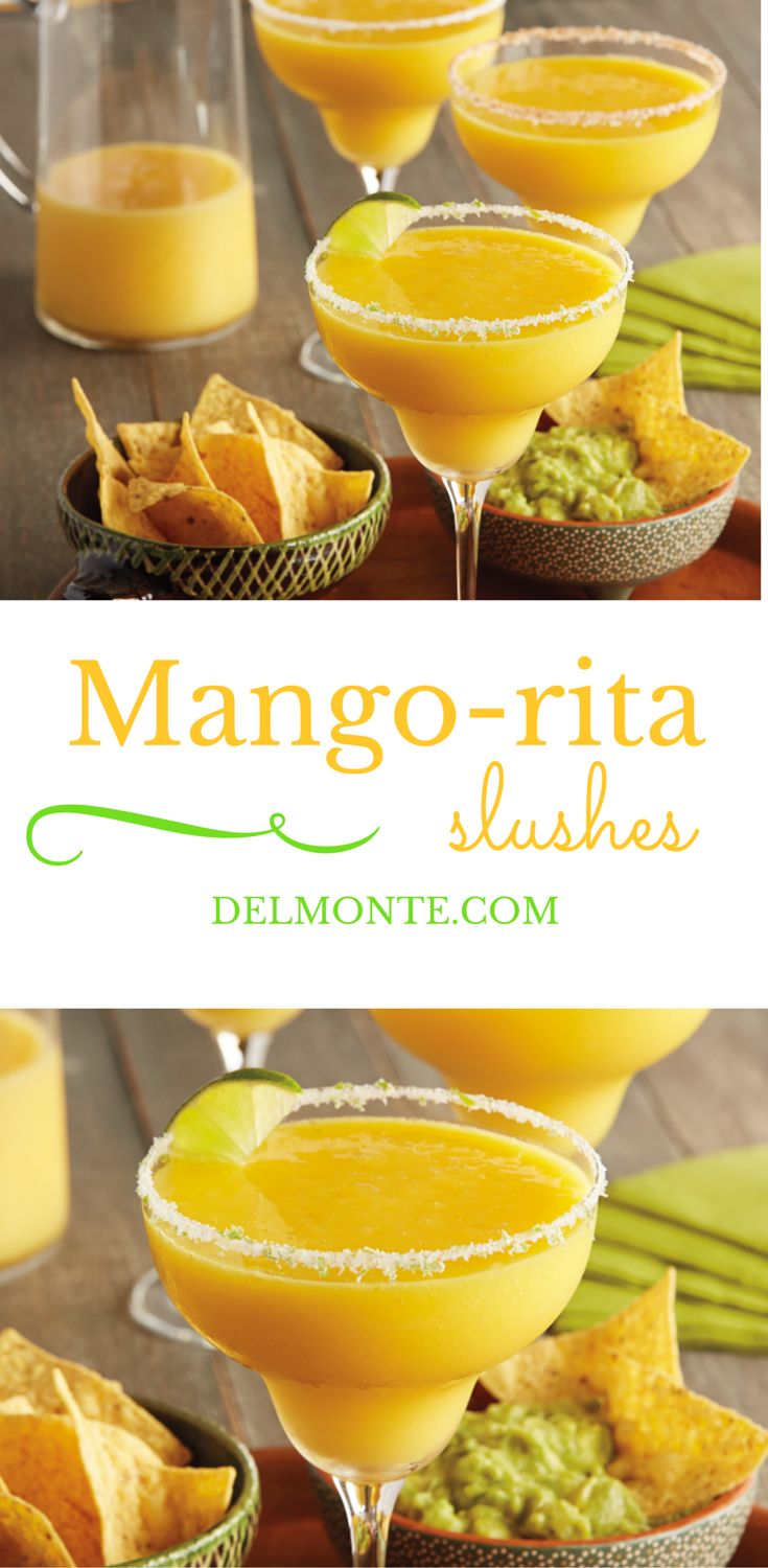 Mango-rita Slushes - Cool and refreshing, this quick blender drink can be garnished simply with salt, or add a quick twist to the salt with lime zest or chili powder. A family-friendly treat which can be made non-alcoholic, perfect for casual entertaining, summertime patio parties, or relaxing at home watching the Super Bowl / Game Day.