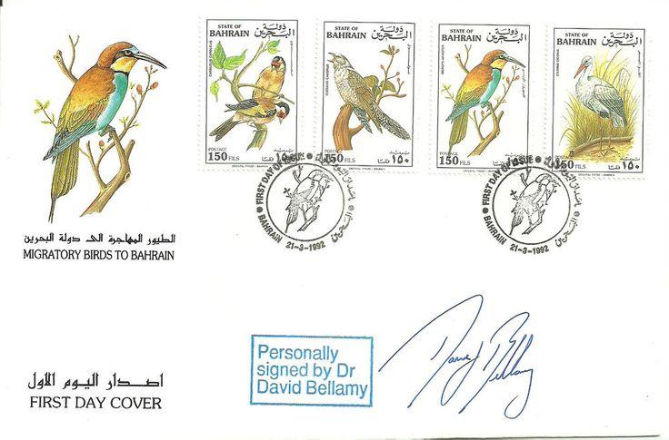 Migratory Birds to Bahrain FDC signed David Bellamy
