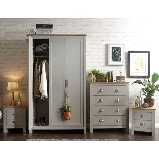 Valencia Wooden Bedroom Furniture Set In Grey With Oak Top