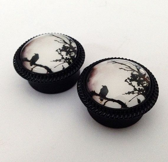 A Crows Night Ear Plugs by TeacupRose on Etsy