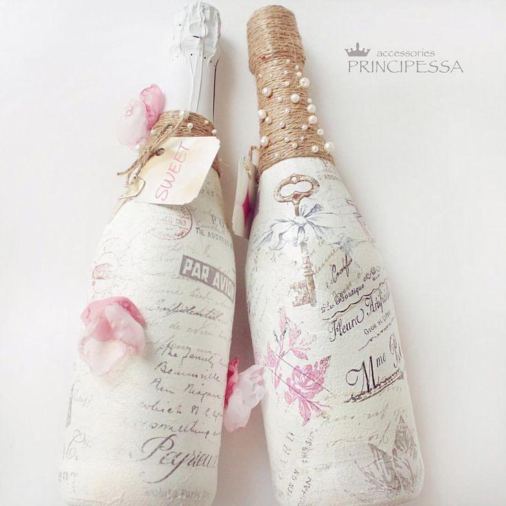 """1 4 . 0 3 . 2 0 1 7 СВАДЕБНЫЙ НАБОР """"ЛЮБОВНЫЕ ПИСЬМА"""". Набор 2014 года. На фото декор свадебных бутылок. БЕЗ ПОВТОРА! Все свадебное шампанское тут: #principessa_свадебноешампанское"""