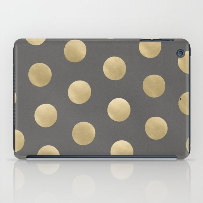 Gold Polka Dots iPad Case #ipadcase #ipad #case #polkadot #dots #polkadots #gold #goldprint #goldpattern #golddots #pattern #accessory #decor #trending