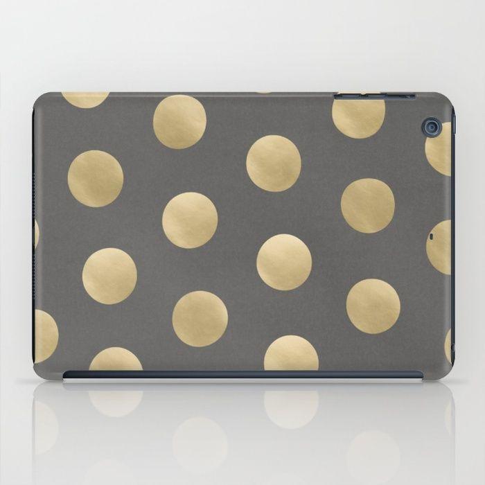 Gold Polka Dots iPad Case #ipadcase #ipad #case #polkadot #dots #polkadots #gold #goldprint #goldpattern #golddots #pattern #accessory #decor #trending