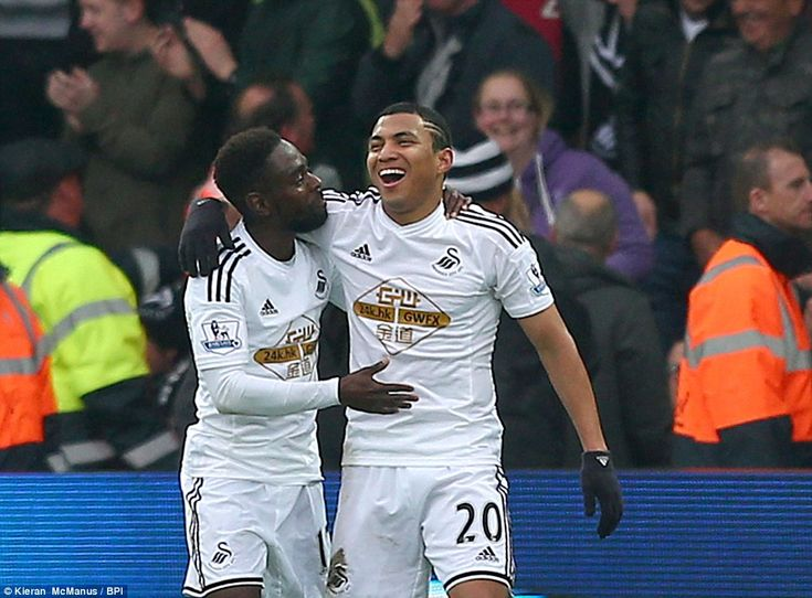 The South American ace celebrates his goal with fellow Swansea team-mate Nathan Dyer at the Liberty Stadium as the hosts secure the victory