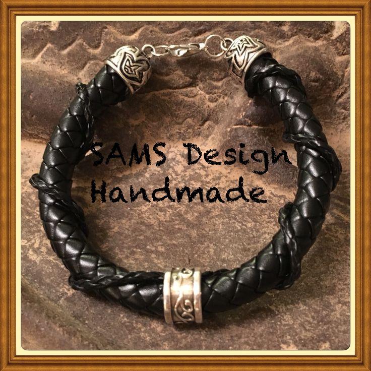 Svart läderarmband unisex Black leatherbracelet SAMS Design Handmade
