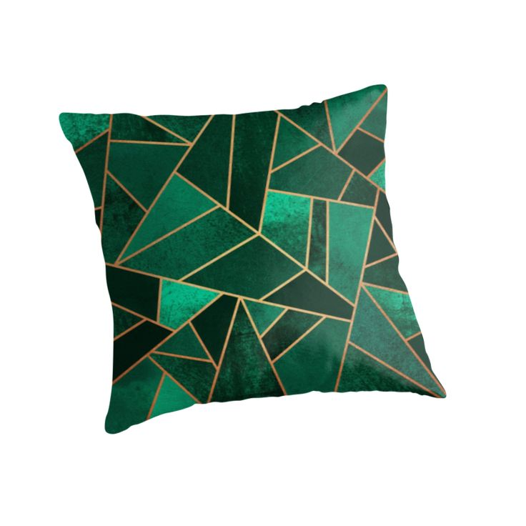 """Emerald and Copper"" Throw Pillows by Elisabeth Fredriksson 