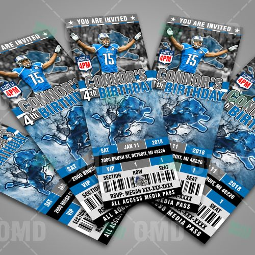 Printable Birthday Party Invitation Card Detroit Lions: 17 Best Ideas About Detroit Lions Tickets On Pinterest