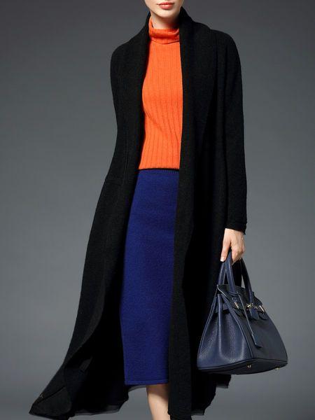 Pockets Open Collar Wool Blend Coat