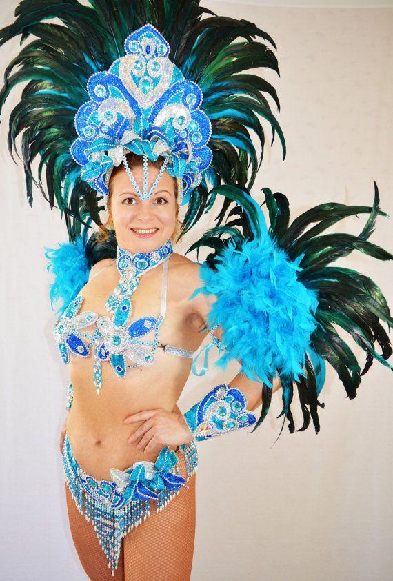 Brazilian Blue/Silver Rio carnival SAMBA dance COSTUME