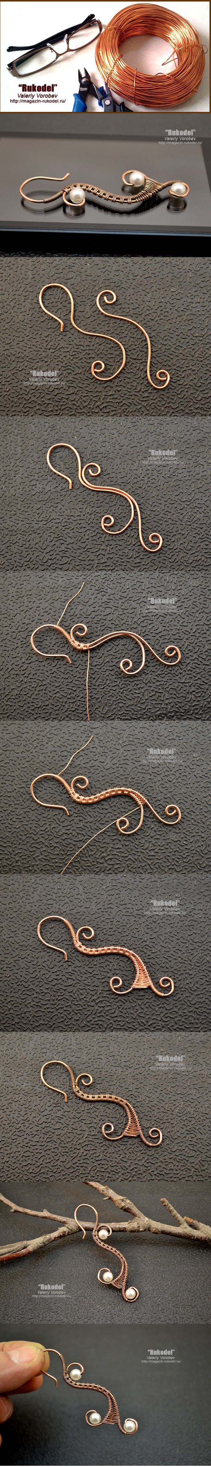 Earrings made of wire with his hands. | Crafts
