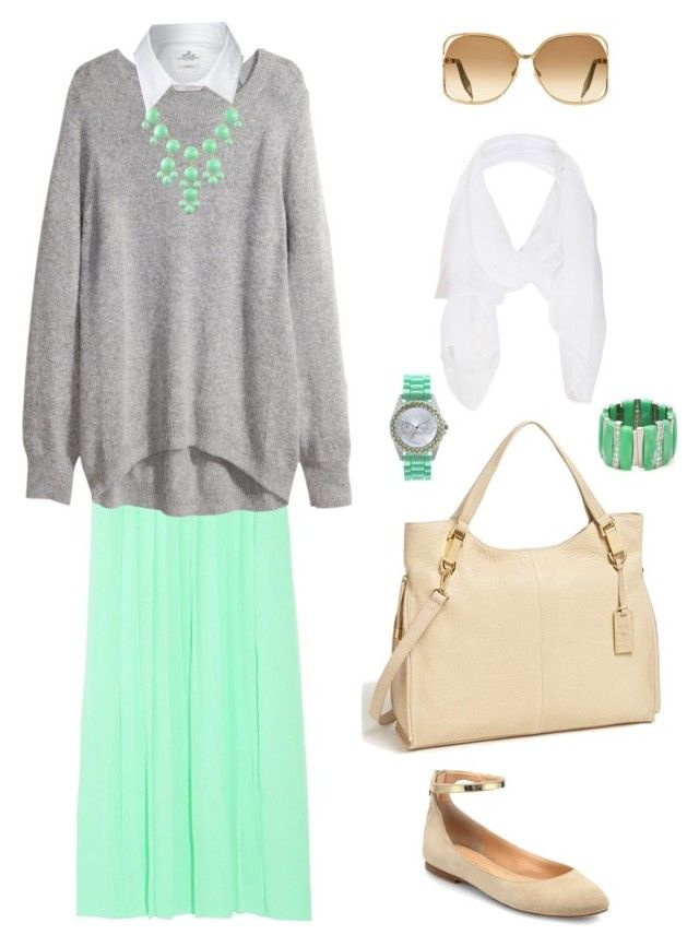 Minty by hijab-daily on Polyvore featuring polyvore fashion style H&M Replay Sigerson Morrison Vince Camuto Aqua Topshop Victoria Beckham women's clothing women's fashion women female woman misses juniors