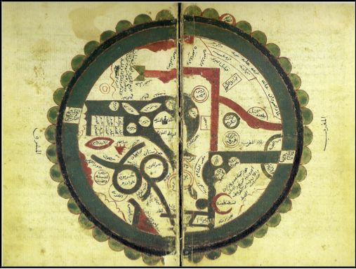 #241.1 TITLE: World Map of al-Wardi DATE: 16th century AUTHOR: Ibn al-Wardi DESCRIPTION: The first of these maps is contained in a genealogical scroll titled Zübdetü't-tevarih [Cream of Histories] by Seyyid Lokman ibn Hüseyin ibn el-'Asuri el-Urmevi. The scroll was started during the reign of Süleyman I (1520-66) and was taken over by Lokman in 1569 when he officially became the court historiographer. The map is in the first part of the roll; the author who started the roll is not known. The…