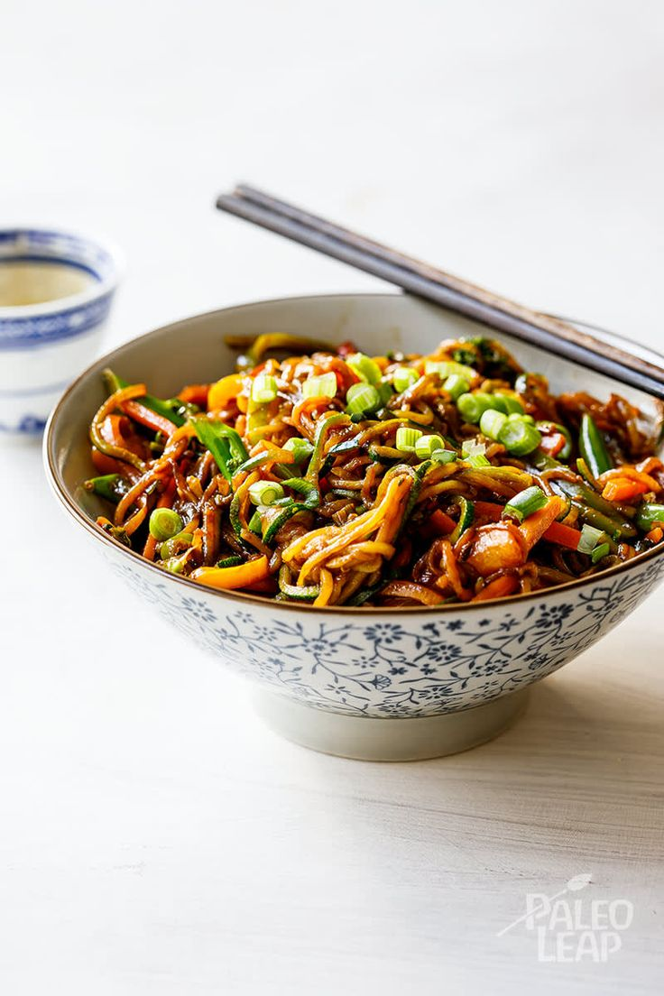 Vegetable lo mein is a crowd-pleaser, easy enough to prepare for 2 or 6 people, just make sure you have enough zucchini noodles to go around!