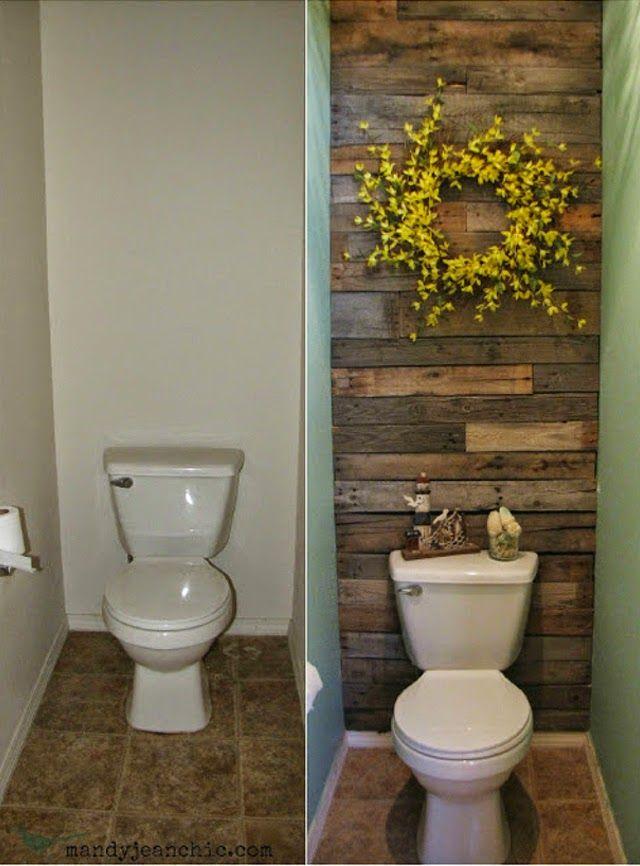 Diy parede de pallet no banheiro bathroom pinterest for Cheap alternative to stikwood
